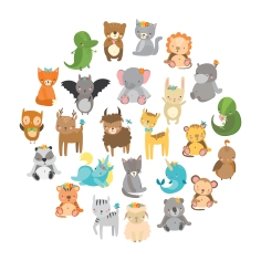 cute vector zoo
