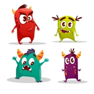 Vector cartoon cute cheerful monster set.